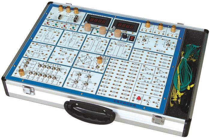 SB-DL6电路原理实验箱 该电路分析实验箱主要是进行电工学中的有关电路分析 理论的实验论证,属弱电类实验。它采用模块式结构,各模块间相互独立,通过各元件区不同元件组合,可组成多种测试电路,实验模板正面印有电路图,反面装有器件,各实验电路中需测试的点均装有测试孔,使用方便,接触可靠,而且寿命长、效率高,适用于进行各种电路的实验研究,可满足电工原理、电路分析等课程实验教学的需要。有电路原理基本电路。  系统组成 (1)电源输入:AC220V10% ,50HZ 电源 输出:固定输出l2V/0.